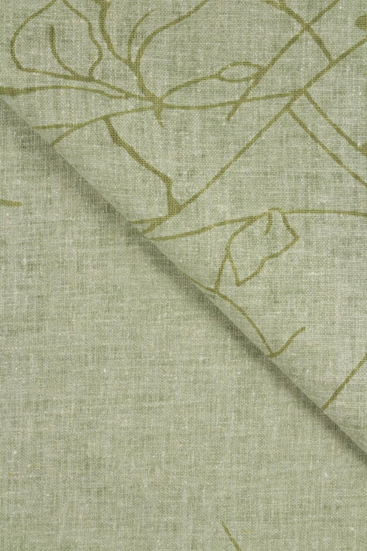 Tkanina lniana oliwka w kwiaty 140 cm 190 g/m2