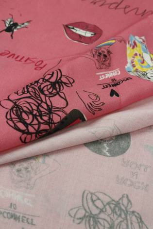 copy of Fabric - Viscose - Black With Pink/White Flowers - 140 cm - 130 g/m2 thumbnail