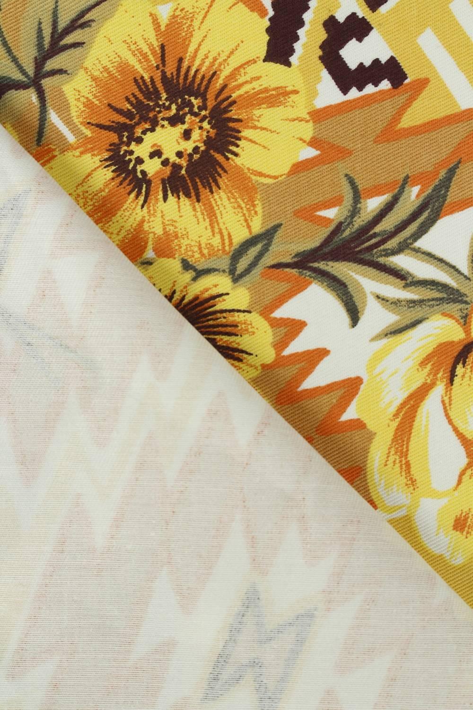 Tkanina bawełniana wzór w pomarańczowe kwiaty 150 cm 290 g/m2