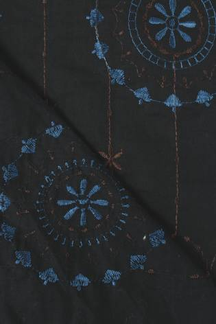 Tkanina bawełniana haftowana kwiaty boho czarna 140 cm 100 g/m2 thumbnail
