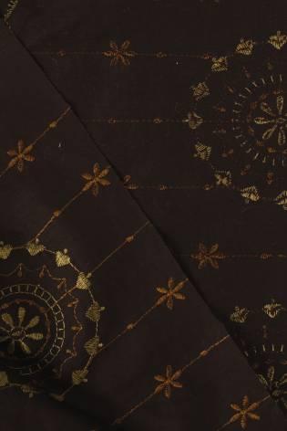 Tkanina bawełniana haftowana kwiaty boho brązowa 140 cm 100 g/m2 thumbnail