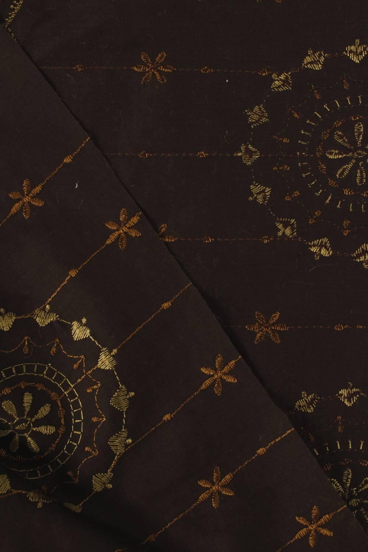 Tkanina bawełniana haftowana kwiaty boho brązowa 140 cm 100 g/m2