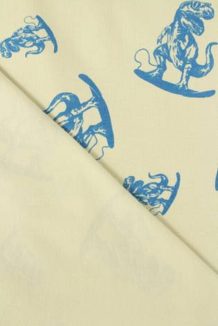 Jersey bawełna elastan beżowy w dinozaury 160 cm 200 g/m2 thumbnail