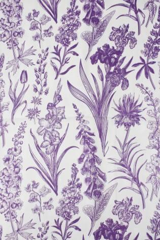 Tkanina wiskozowa botaniczne fioletowe kwiaty 150 cm 110 g/m2 thumbnail