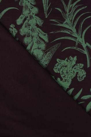 Dzianina jersey bambusowy czekoladowy w botaniczne kwiaty 155 cm 220 g/m2 thumbnail