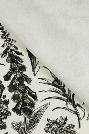 Dresówka pętelka śmietankowa w botaniczny wzór 180 cm 260 g/m2 thumbnail