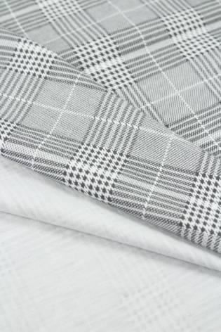 Jersey bawełniany szary w kratkę pepitkę 170 cm 170 g/m2 thumbnail