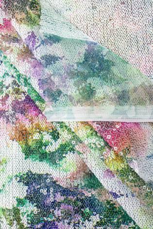 Cekiny na siateczce - kwiecisty wzór zielony - 140cm 180g/m2 thumbnail