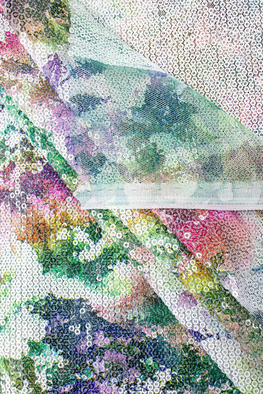 Cekiny na siateczce - kwiecisty wzór zielony - 140cm 180g/m2