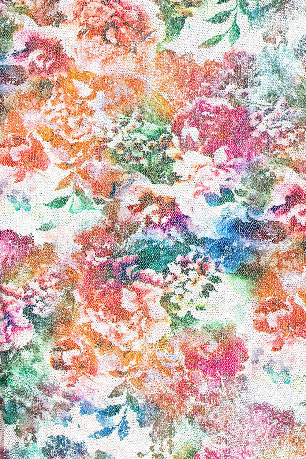 Fabric - Sequins - Flowery Pattern - White - 140 cm - 180 g/m2