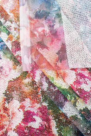 Fabric - Sequins - Flowery Pattern - White - 140 cm - 180 g/m2 thumbnail