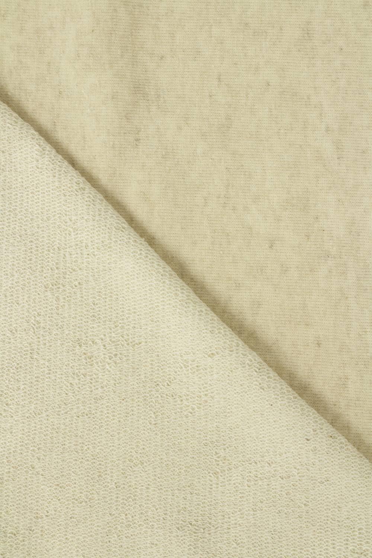 Dresówka pętelka lniana beżowy melanż GOTS 185 cm 240 g/m2