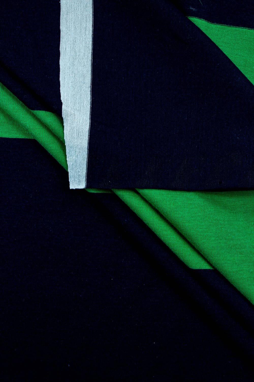 Knit - Jersey - Navy Blue & Green Stripes - 150 cm - 170 g/m2
