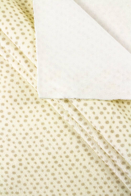 Dzianina welurowa w  brązowe kropki - pasetelowy zółty - 170cm 270g/m2