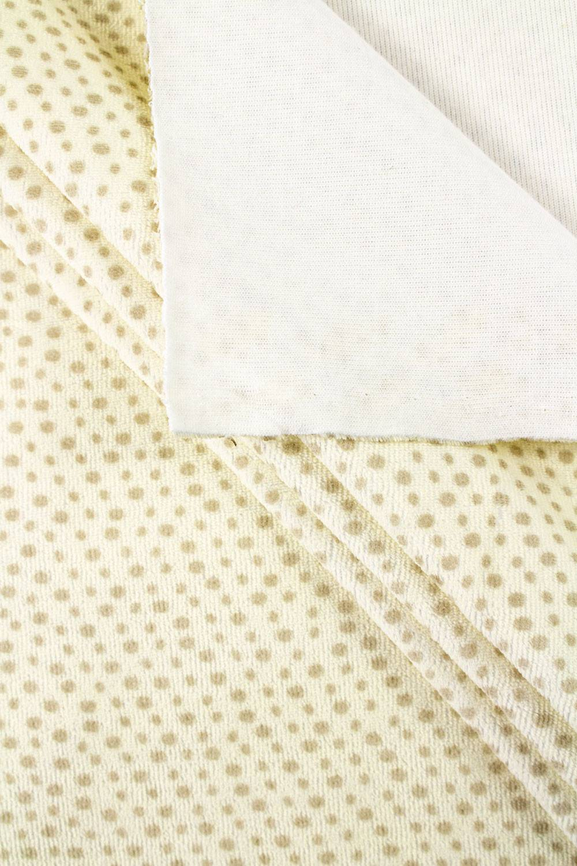 Knit - Velour - Pastel Yellow/Ecru With Brown Dots - 170 cm - 270 g/m2