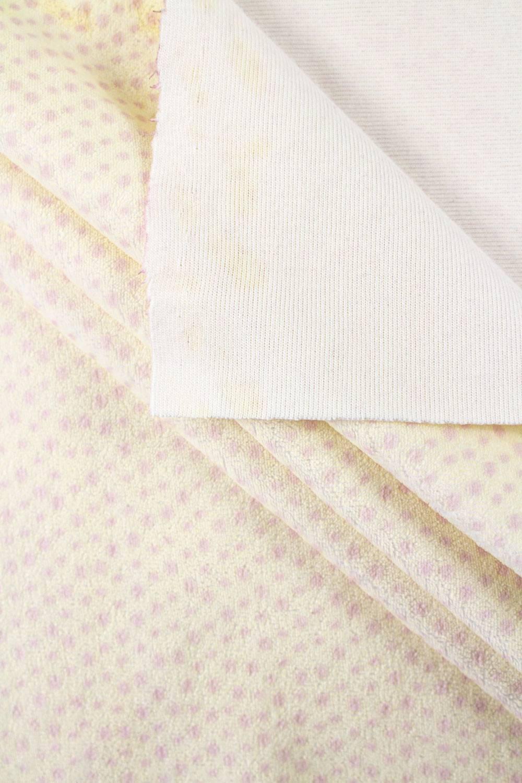 Dzianina welurowa w różowe kropki - pasetelowy zółty - 170cm 270g/m2