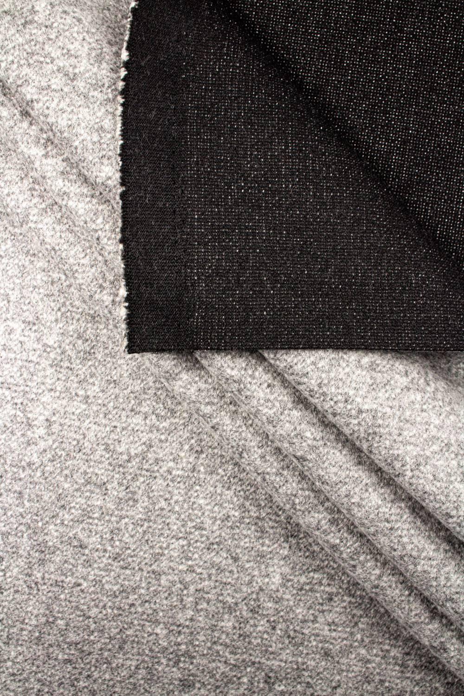 Tkanina wełniana flausz jasnoszary melanż 150cm 400g/m2