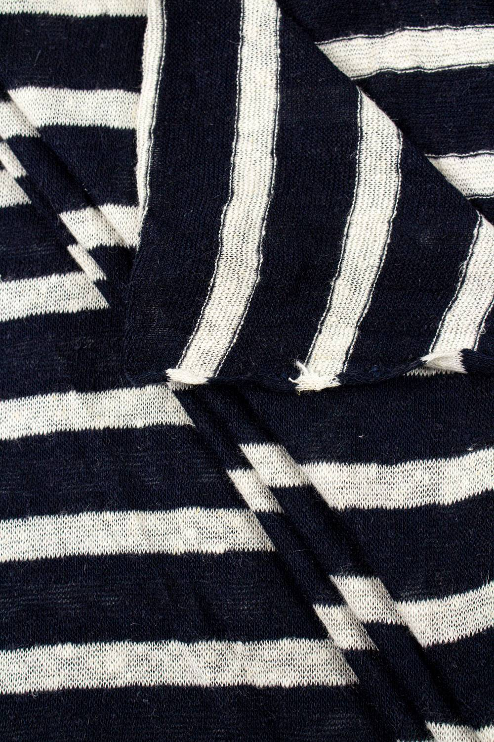 Knit - Sweater Type - Navy Blue & White Stripes - 155 cm - 170 g/m2