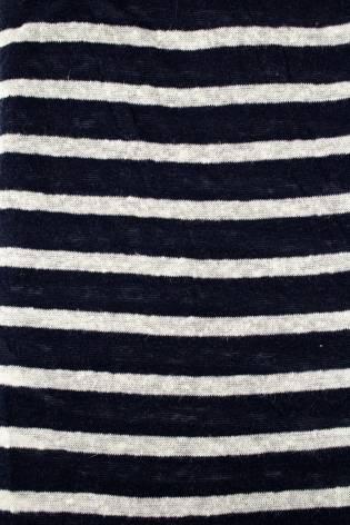 Knit - Sweater Type - Navy Blue & White Stripes - 155 cm - 170 g/m2 thumbnail