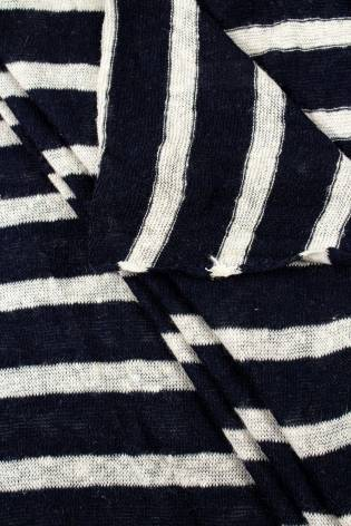 Dzianina sweterkowa w paski - czarny - 155cm 170g/m2 thumbnail