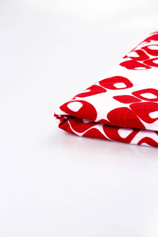 Dzianina jersey-rayon - biały w czerwony wzorek -  150cm 200g/m2