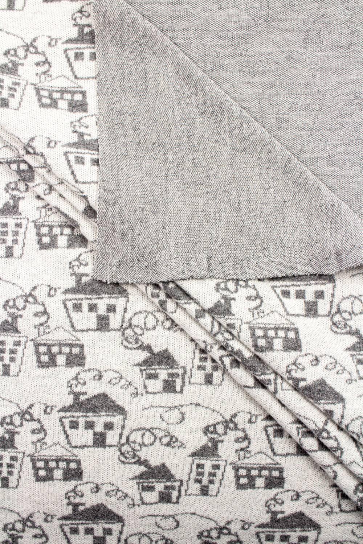 Knit - Sweatshirt Jacquard - Grey Houses - 170 cm - 210 g/m2