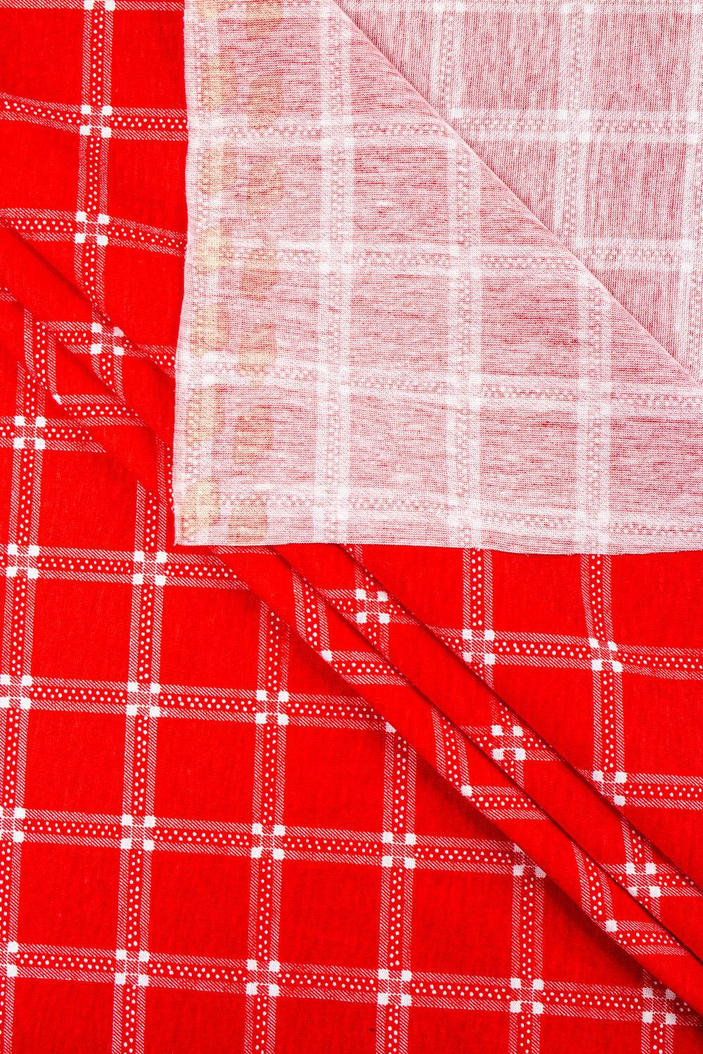 Knit - Jersey - Red With White Check  - 165 cm - 150 g/m2