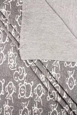 Knit - Sweatshirt Jacquard - Dark Grey With White Animals - 165 cm - 200 g/m2 thumbnail