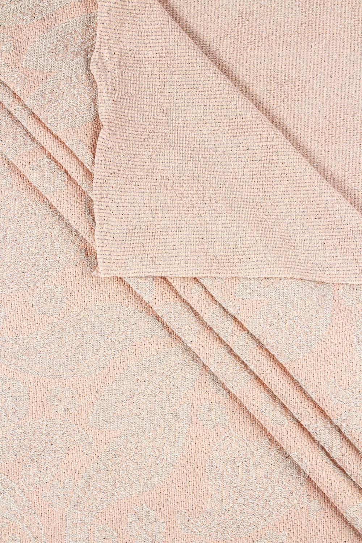 Dzianina sweterkowa ze srebrną nitką - różowy - 150cm 210g/m2