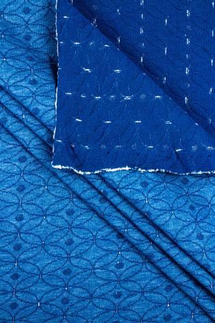 Knit - Sweatshirt Jacquard - Blue Geometric Pattern - 185 cm - 260 g/m2 thumbnail