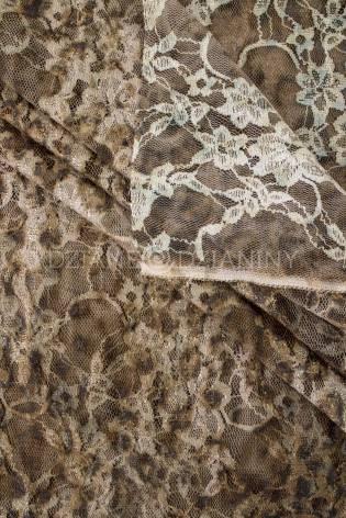 Tkanina koronkowa  - karmelowa ze złotą nitką - 145cm 100g/m2 thumbnail