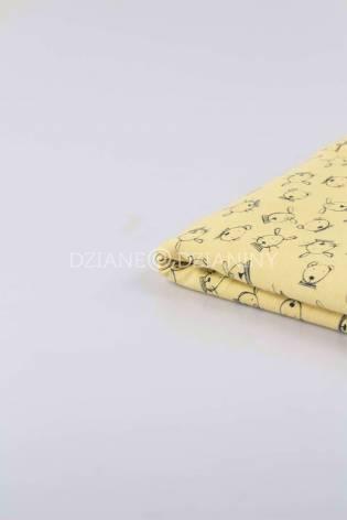 Knit - Viscose Jersey - Yellow With Rabbit Pattern - 160 cm - 180 g/m2 thumbnail
