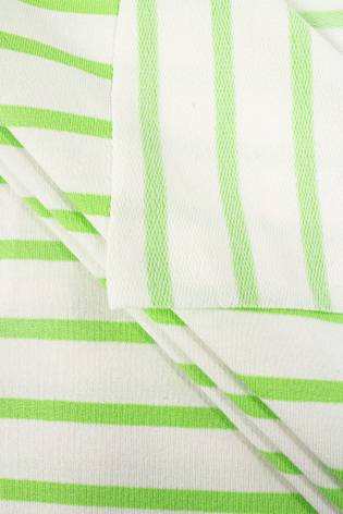 Knit - Viscose French Terry - White & Green Stripes - 175 cm  - 230 g/m2 thumbnail