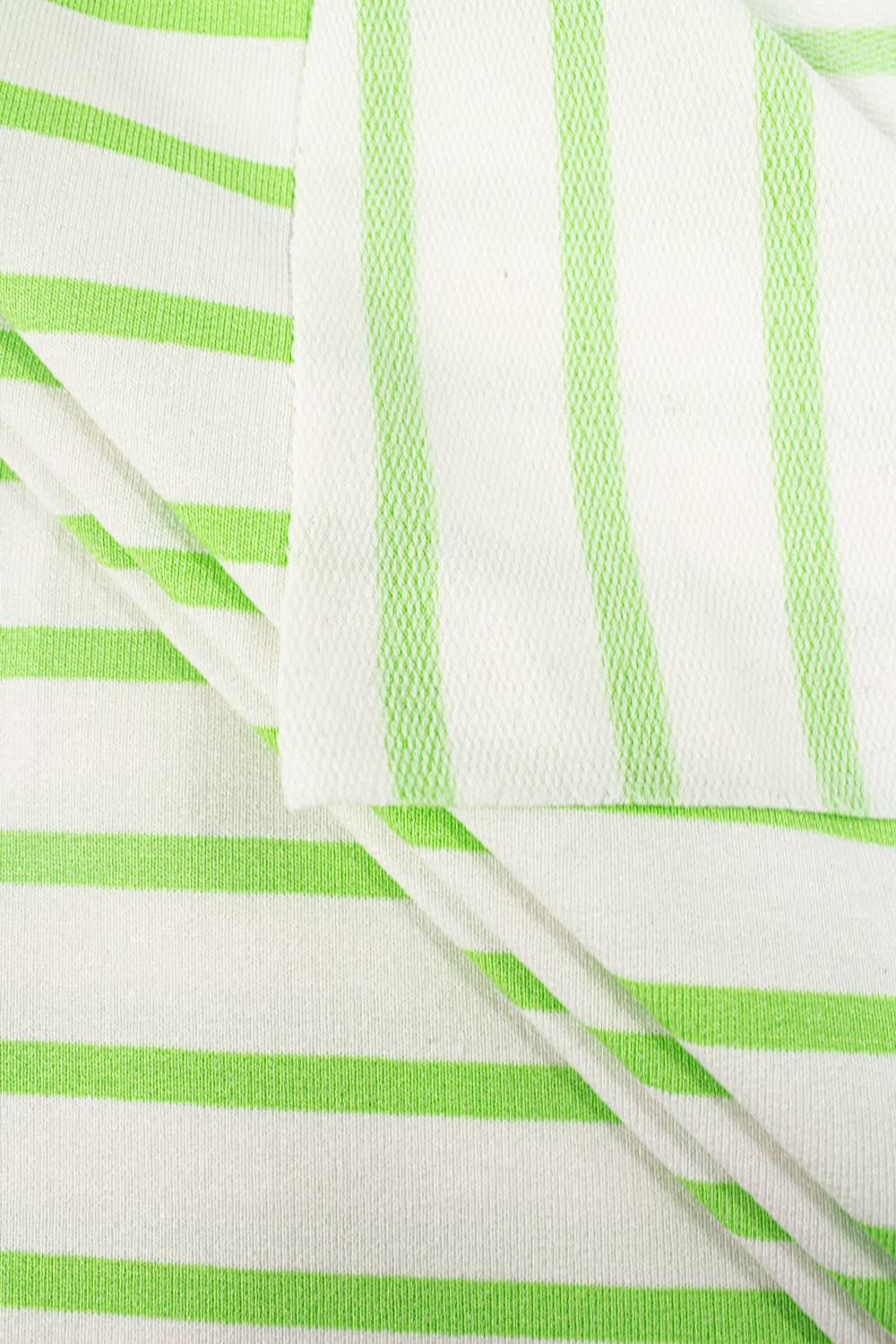 Knit - Viscose French Terry - White & Green Stripes - 175 cm  - 230 g/m2