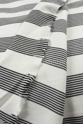 Knit - Viscose Jacquard - White With Black Stripes - 145 cm - 400 g/m2 thumbnail