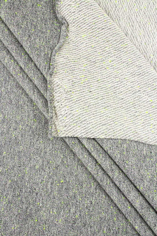 Dzianina dresowa pętelka ze splotem diagonalnym szary melanż z zielonym 250g/m2 185cm