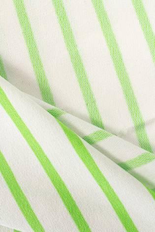 Dzianina dresowa wiskozowa biała w zielone paski - 175cm  230g/m2 thumbnail
