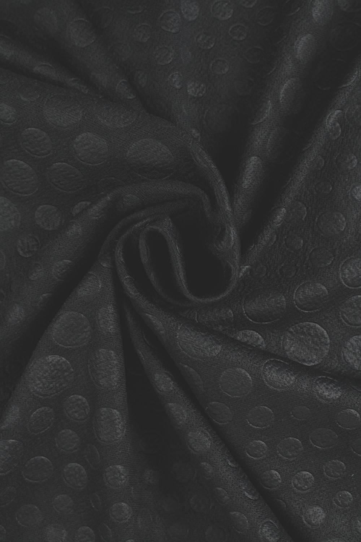 Dzianina wytłaczana czarna kropki KUPON 6MB
