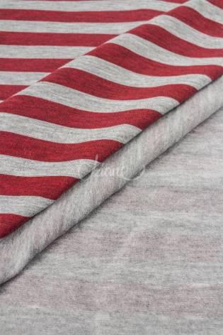 Jersey bawełna/elastan paski szary melanż/bordowy - 185cm 210g/m2 thumbnail