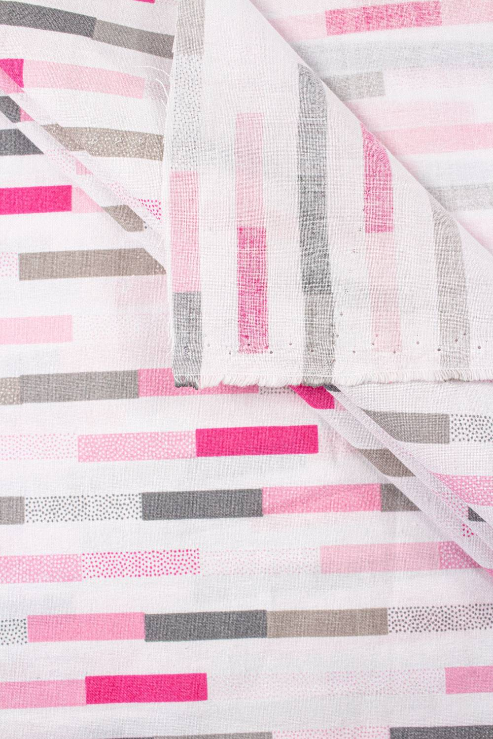 Fabric - Cotton - White With Pink & Grey Stripes - 165 cm - 120 g/m2