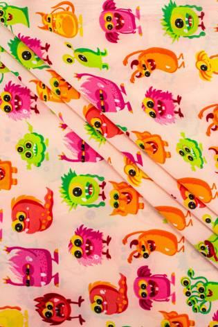 Tkanina Koshibo - potworki na brzoskwiniowym tle - 150cm 100g/m2 thumbnail