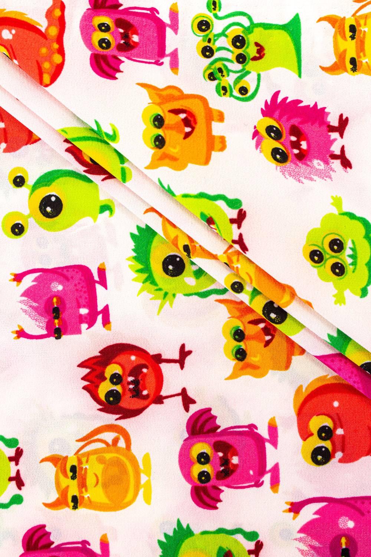 Fabric - Koshibo - White With Monsters - 150 cm - 100 g/m2
