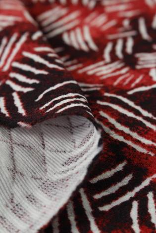 Knit - Quilted - Burgundy With White Stripes - 8 rm (Pre-cut) thumbnail