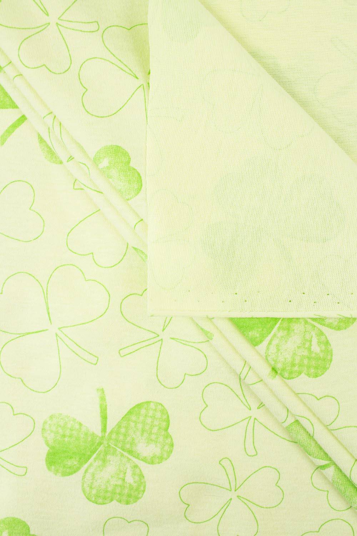 Knit - Jersey - Light Green With Shamrock Pattern - 175 cm - 170 g/m2