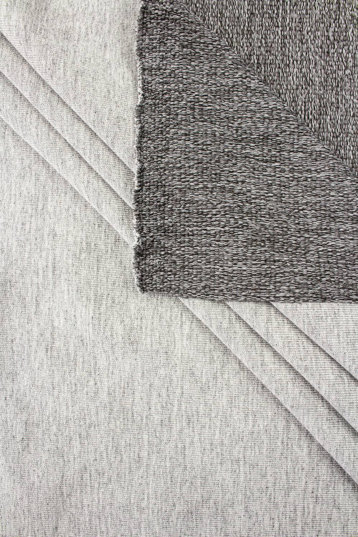 Knit - French Terry Sweatshirt - Grey Melange With Dark Bottom Layer - 180 cm - 300 g/m2