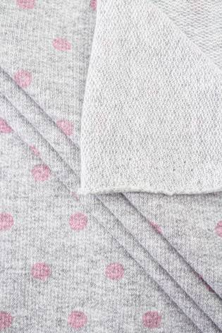 Knit - French Terry Sweatshirt - Grey Melange With Pink Dots - 180 cm - 150 g/m2 thumbnail