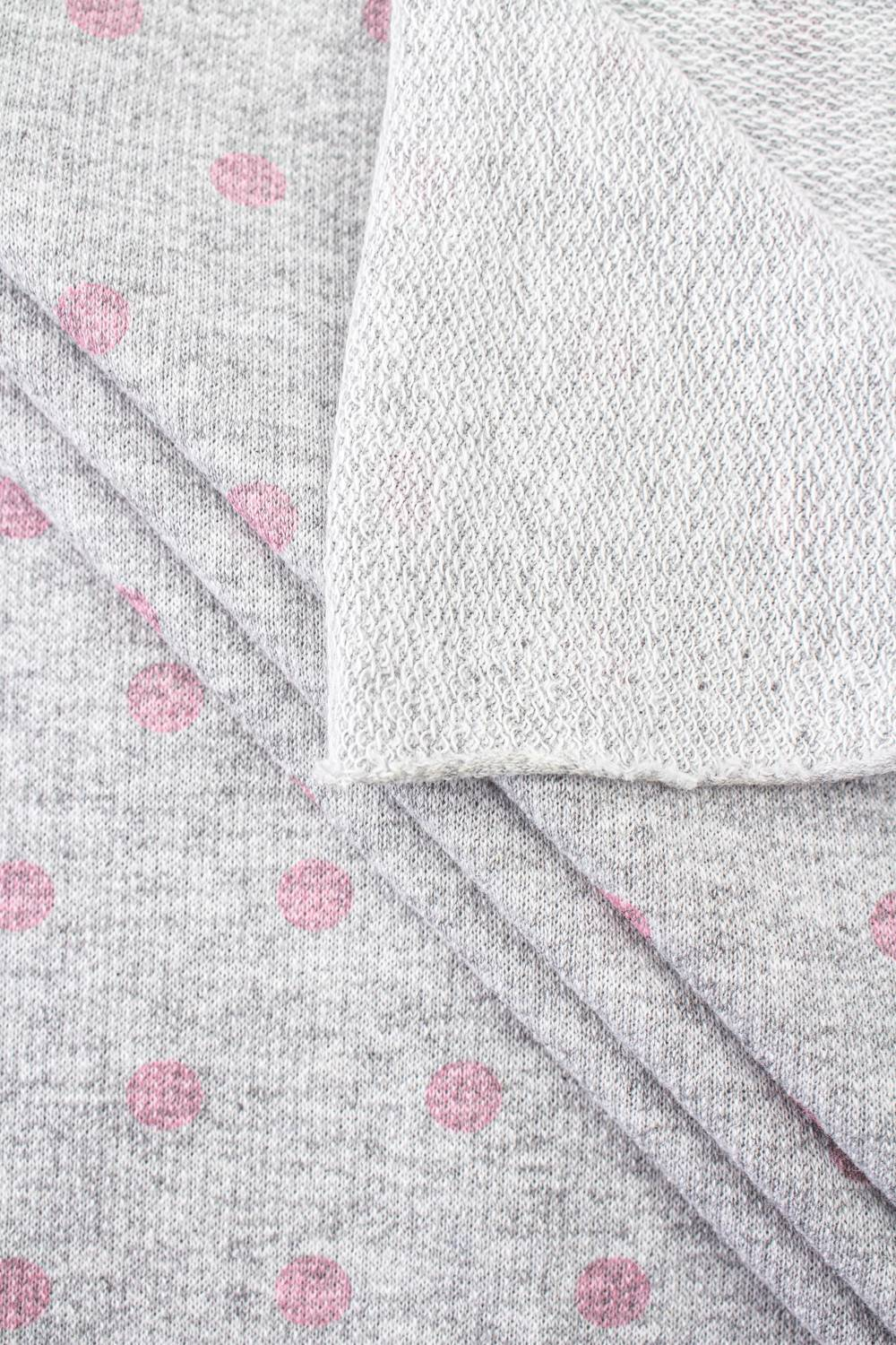 Knit - French Terry Sweatshirt - Grey Melange With Pink Dots - 180 cm - 150 g/m2
