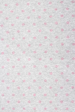 Dzianina dresowa pętelka szary melanż w różowe kropki - 180cm 150g/m2 thumbnail