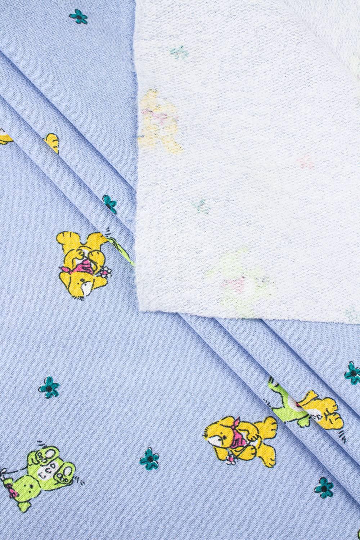 Knit - Sweatshirt Fleece - Blue - Teddy Pattern - 150 cm - 180 g/m2