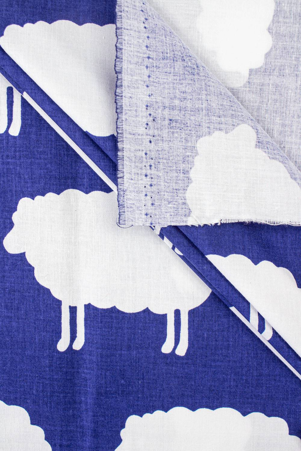 Fabric - Cotton - Blue With Sheep - 160 cm - 130 g/m2